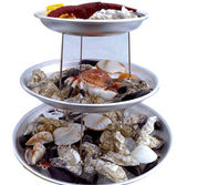 Äkta franskt set med 3 skaldjursfat och 2 ställningar.
